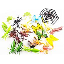 Set Of 24 Figurines Insects Toy Play Set – Includes Caterpillar, Dragonfly, Centipede, Grasshopper, Spider, Butterflies, Bee, Scorpion, Praying Mantis, And More