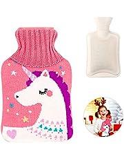 WELLXUNK® Värmflaska med överdrag, värmeflaska, varmvattenflaska barn, avtagbar och tvättbar varmvattenflaska med tvättbart stickade flaskskydd, bästa jul och vinterpresenter (M1)