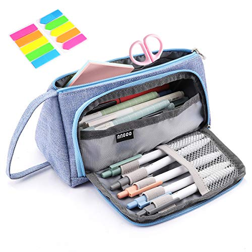 Pencil Case, Yloves Big Capacity Pen Pencil Bag Pouch Box Organizer Holder with 2 PCS Index Tabs for School Office (Light Blue) ()
