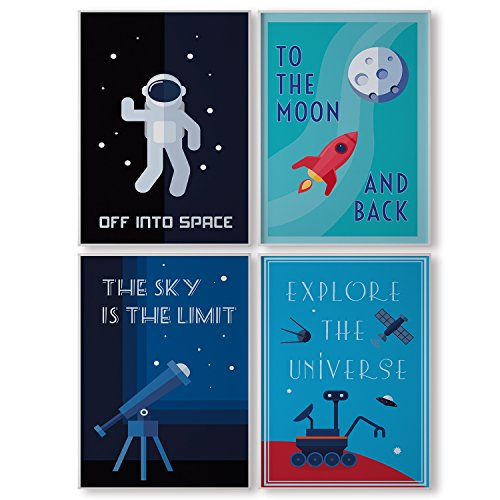 Pillow & Toast LIMITED EDITION SPACE WALL ART: Set of FOUR Posters For Kids, 4-Pack Children Bedroom Room Decoration, Hanging Stripes Included. Classroom Decor, Modern Poster Sets. by Pillow & Toast