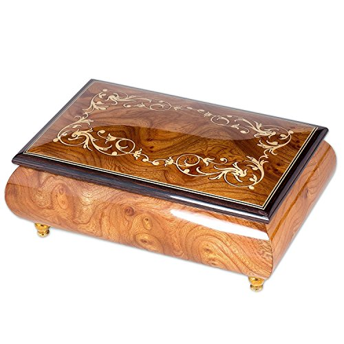 Italian Hand Crafted Inlaid Natural Wood Musical Jewelry Box - Plays Claire de Lune