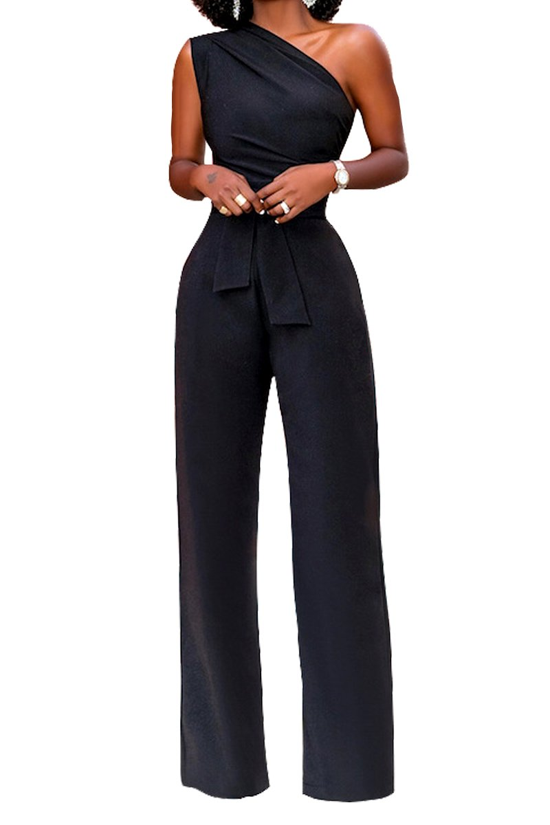 Women's Off One Shoulder Wide Leg High Waisted Long Pants Jumpsuits Romper with Belt Black S