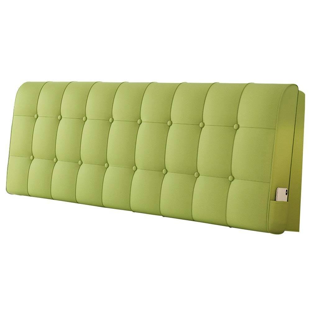 Lil Solid Color Waistboard Headboard Cushion, No Bed Backrest Soft Pack Double Bed Pillow Tatami Simple (Color : Green)