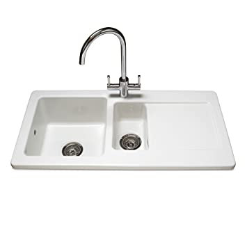 reginox rl501cw contemporary ceramic 15 bowl white kitchen sink - White Kitchen Sink