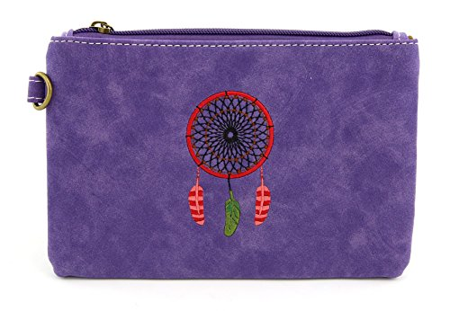 Valuables Wristlet - YESIR CREATION PU Leather Waterproof Vintage Wristlets Wallet Coin Pouch Purses Clutch Bag Credit Card Holder 17324 (Purple)