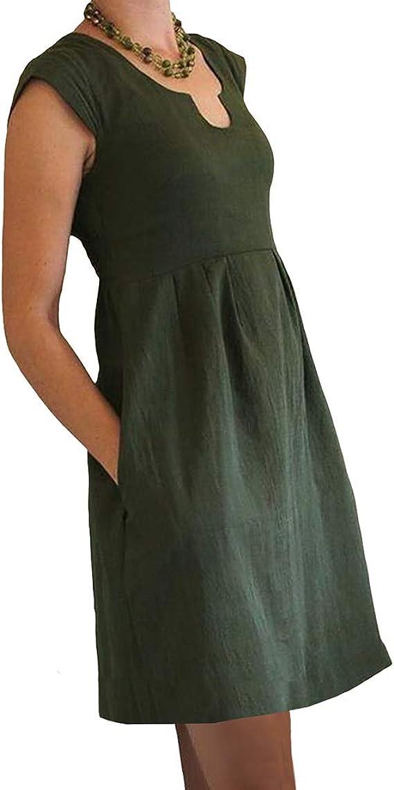 Mujer Vestido de Camiseta Verano Vestido Casual Cintura Alta Vestido de A-Línea U Cuello Color Sólido Suelto Vestido de Lino de Algodón Vestido Medio Largo Longitud de Rodilla: Amazon.es: Ropa y accesorios