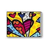 Custom Romero Britto Heart Painting Wall Art Decoration Canvas Print 16 X 12 Inch