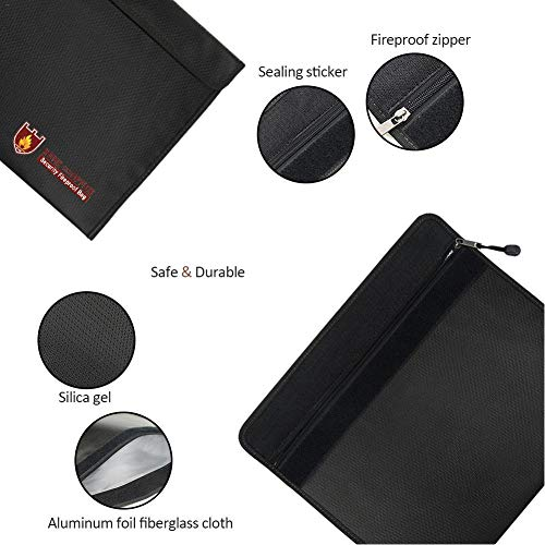 US-PopTrading Fireproof Document Bag, High Temperature Double Sided Fireproof Safe Storage Pouch File Bag,Water Dust Resistant Pouch Zipper Organizer Case for Money,Passport,Jewelry Black by US-PopTrading (Image #5)