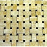 "Honey Onyx Basketweave Black Dot Polished Mosaics Meshed on 12"" X 12"" Tile for Backsplash, Shower Walls, Bathroom Floors"