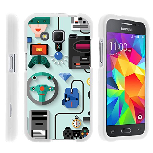 TurtleArmor | Compatible for Samsung Galaxy Core Prime Case | Prevail | Win 2 [Slim Duo] Smooth Matte Hard 2 Piece Slim Shell Snap On Cover on White Video Games Design - Gaming Icons