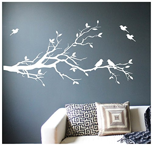 - Digiflare Graphics Large Tree Branch Wall Decal Deco Art Sticker Mural with 10 Birds (White - Matte)