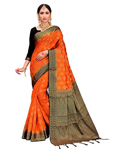 for Women's Banarasi Art Silk Woven Work Saree l Indian Wedding Ethnic Sari & Blouse Piece (Orange) (Kanchipuram Sarees)