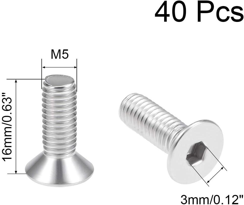 uxcell M4x6mm Flat Head Machine Screws Inner Hex Screw 304 Stainless Steel Fasteners Bolts 40Pcs
