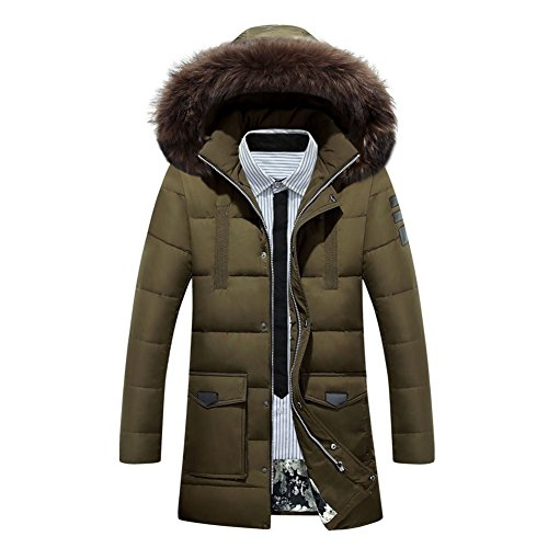 S Green with Parka Warm Winter Down Removable Winter Men's Coat Fur Jacket Hoodie Hibote Hood Coat XXL Army F4K6TSqw