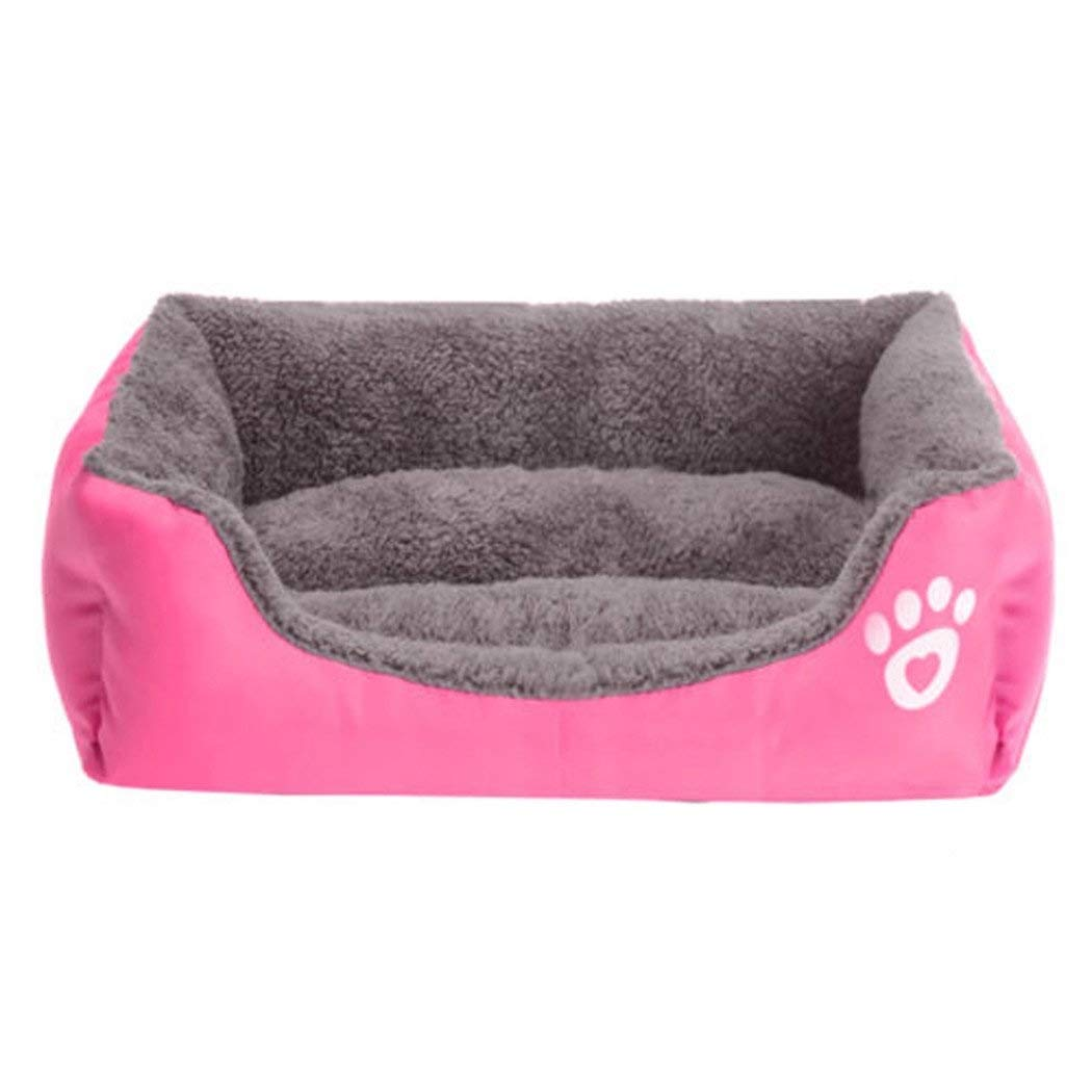 PINK L PINK L MUMUCW Dog Bed Washable, Cat Bed Pet Bed Small Pet Bed Mattress Pillow Cushion Soft Warm Prime Cotton Bed with Cute Image (color   Pink, Size   L)