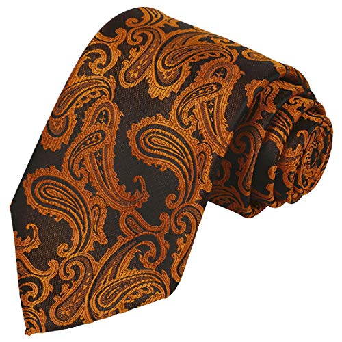 Paisley Copper (KissTies Mens Copper Tie Paisley Necktie Wedding Ties + Gift Box)