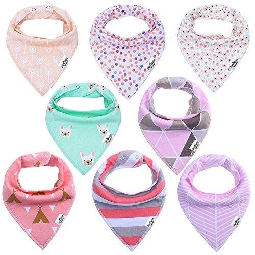 Storeofbaby Baby Bandana Bibs Super Soft Absorbent Pack of 8 for Girls Gift Set