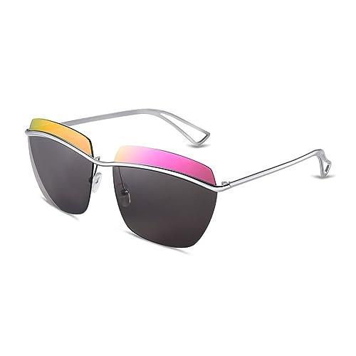 iLove EU 3pcs Set Herren Sonnenbrille Kreativ Einzigartig Silber Metallrahmen Aviator Frosch Spiegel Brille Sonnenbrillen 3 Farben QU8RgB2