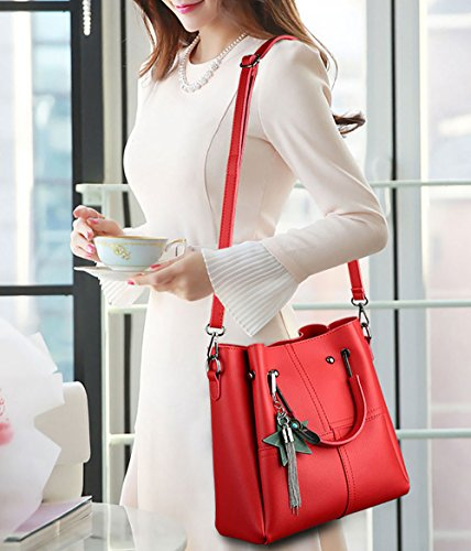 Bags Cross Handle Shoulder Burgundy Handbags Leather Top Women's Bags Bags Body Faux gCxqnO0w