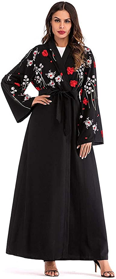 Domple Womens Long Sleeve Muslim Middle East Color Blocked Cardigan Robes Maxi Dress