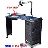 M601 Vented Manicure Nail Table Lockable Marble Laminated Top Made in USA by Dina Meri