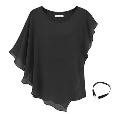 b949325f Women Casual T-shirt Short Sleeve Chiffon Top Crew Loose Blouse Bat Sleeve  (S
