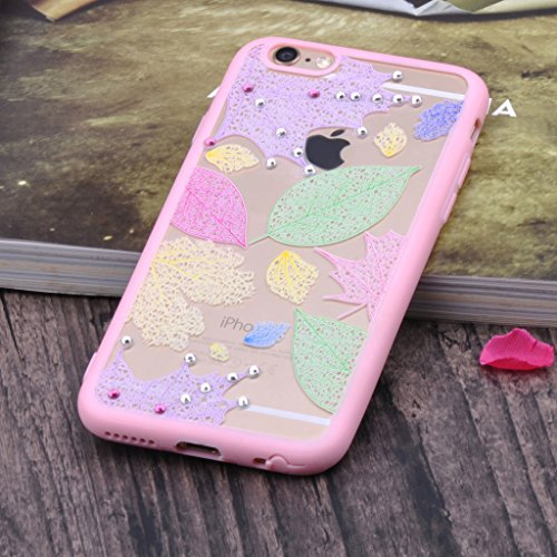"Infinite U Jewellery Bling Strass Coloré Feuille d'érable Shine Strass Souple TPU Gel Case/Coque/Etui de Téléphone Mobile pour iPhone 6/6s 4.7"" Femme"