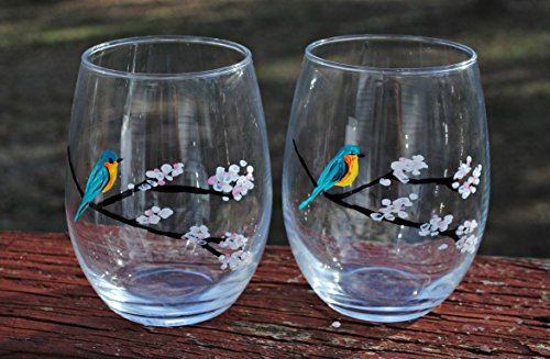 Bluebird White Cherry Blossom Tree Branches Hand Painted Stemless Wine Glasses (Set Of ()