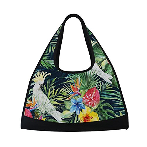 MAPOLO Green Palm Leaves White Cockatoo Bird Travel Duffel Bag Sports Gym Bag Shoulder Bag Review
