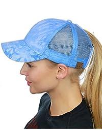 C.C Ponycaps Messy High Bun Ponytail Adjustable Tie Die Mesh Baseball Cap Hat