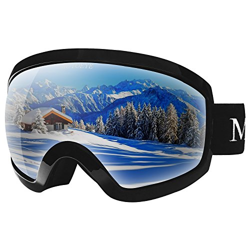 MOTOEYE Ski Goggles - Over Glasses Design Snow/Snowboard Goggle for Men,Women & Youth (100% UV Protection + Long-time Anti-Fog + Mirrored) (Black)