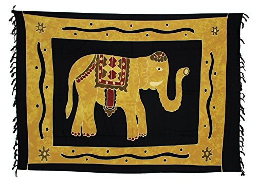 Sarong Pareo Wickelrock Strandtuch Tuch Wickeltuch Handtuch - Blickdicht - ca. 170cm x 110cm - Schwarz Ocker Batik mit Elefant Motiv Handgefertigt inkl. Kokos Schnalle in Rauteform