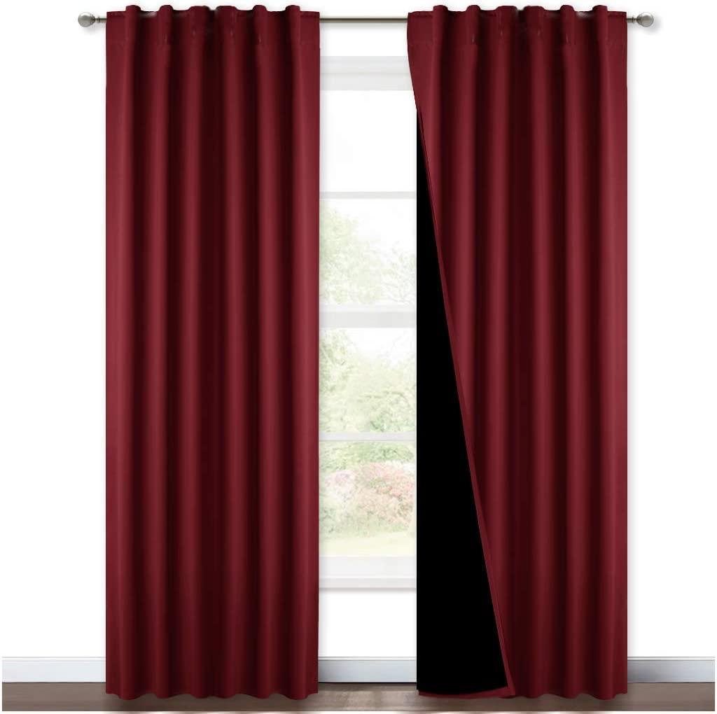 NICETOWN Red 100% Blackout Curtains with Black Liner Backing, Thermal Insulated Curtains for Living Room, Noise Reducing Drapes, 52 inches x 84 inches Per Panel, Set of 2