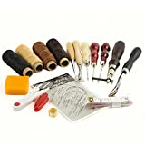 16 Pieces Leather Craft Tool Craft Leather DIY Hand Stitching Sewing Tool Set Including Thread Awl Waxed Thimble Kit