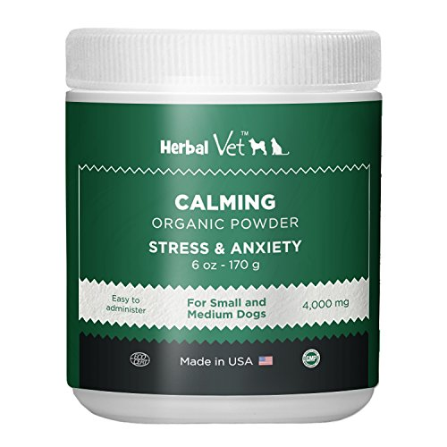 Herbal Vet Dog Calming Powder For Stress & Anxiety Relief Infused with Hemp Oil Extract - For Small Dogs (6 OZ) - Certified Organic By ECO - Made In USA In a Human Grade Facility (6 OZ for small dogs)
