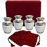 ashes urns human remains - Everlasting Love White Small Keepsake Urns For Human Ashes - Set of 4 Sharing Urns- Beautiful and Timeless Find Comfort With These High Quality Mini Cremation Urns - W Velvet Case and 4 Velvet Bags