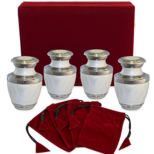 Everlasting Love White Small Keepsake Urns for Human Ashes - Set of 4 Sharing Urns- Beautiful and Timeless Find Comfort with These High Quality Mini Cremation Urns - W Velvet Case and 4 Velvet Bags
