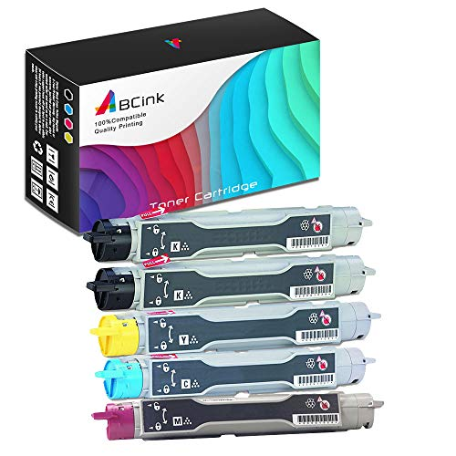 (ABCink Compatible Toner Cartridge Replacements for Xerox 106R00675 106R00672 106R00673 106R00674,for use in Xerox Phaser 6250 6250B 6250DP 6250DT 6250DX,5 Pack(2 Black,Cyan,Yellow,Magenta))