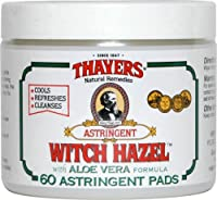 Witch Hazel Astringent Pads with Aloe Vera 60 Pads ( Healthy America's best-selling Witch Hazel ) - Thayers by THAYERS