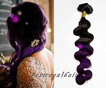 Amazon bestroyalhair black to purple wavy two colors ombre bestroyalhair black to purple wavy two colors ombre indian remy clip in hair extension 100 pmusecretfo Images