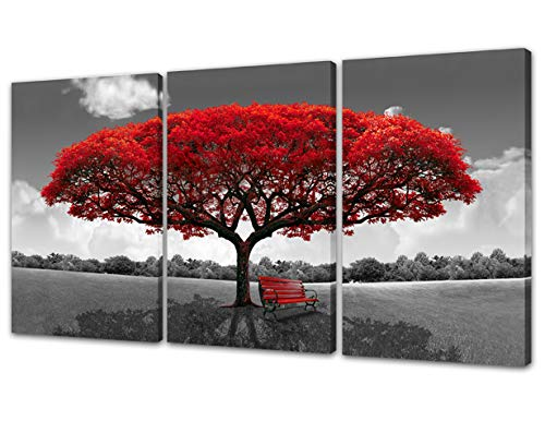 Moco Art 3 Panels Set Canvas Wall Art Red Tree Wall Pictures Landscape Canvas Prints Painting Framed Living Room Decoration