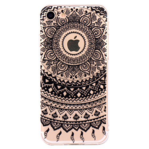 Coque iPhone 7 Silicone Étui Housse JIAXIUFEN Transparent Souple TPU Protecteur Coque pour iPhone 7 - Black Tribal Mandala