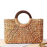 BoBoSaLa Women Casual Top Handle Bag Vintage Wheat-Straw Knitted Appliques Clutch Bag Summer Style Beach Rattan Handbag DEA07 Khaki