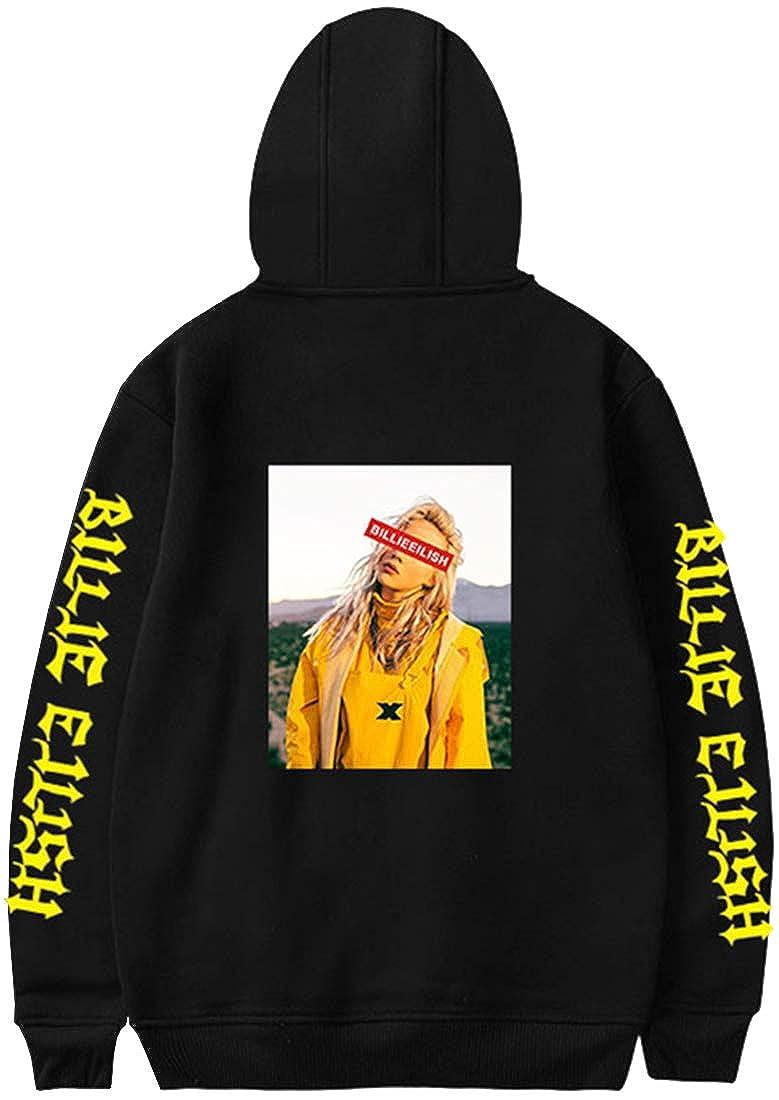 FLYCHEN Mujer Sudaderas con Capucha Color S/ólido para Mujer Billie Eilish Hip-Hop Singer Letras may/úsculas impresi/ón Pullover