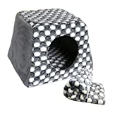 Tent Bed for Pets Unique 2-in-1 Cat Bed mini bedroom for cat & Cat House A Cat Cube With Thick Organic Cotton - Plush Sherpa Lining Give a blanket (s - brown)