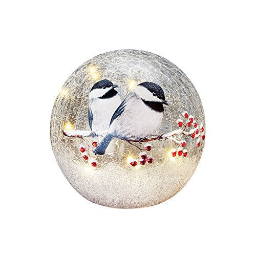 Collections Etc Lighted Winter Chickadee Tabletop Crackled Glass Ball Décor, Small