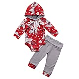 Unmega Infant Baby Girl Flower Print Long Sleeve Hoodie Romper + Long Pants 2 Pieces Hooded Outfit (Red&White, 80(9-12 Months))