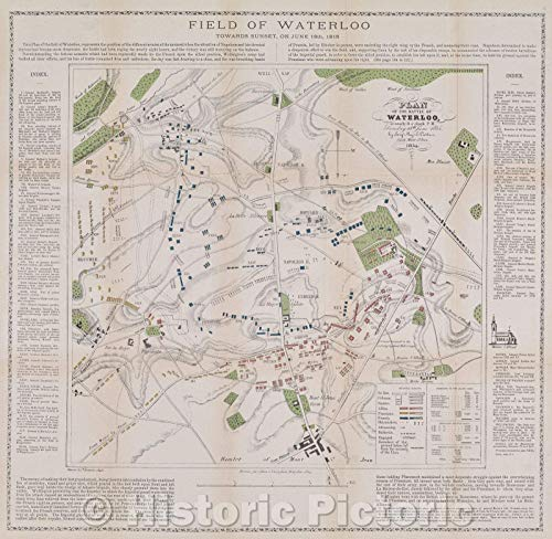 Historic Map | Plan of The Battle of Waterloo at Nearly 8 o'clock p.m, Saturday 18th June 1815 by Sergt. Majr. E. Cotton, 1854 | Vintage Poster Art Wall Décor | 44in x 44in