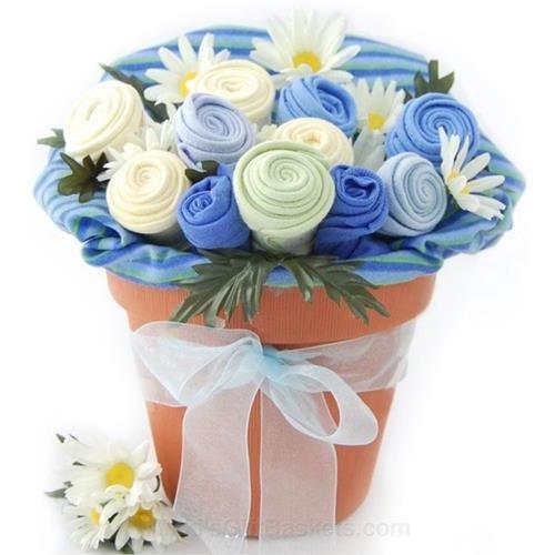 Baby Boy Flower Bouquet Gift Pot ()
