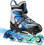 Gonex Inline Skates for Girls Boys Kids, Adjustable Skates for Teens Women with Illuminating Light Up Wheels f